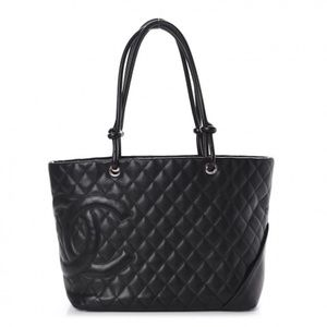 CHANEL CLASSIC CAMBON TOTE BAG BLACK WITH PINK